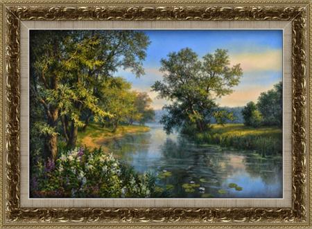 "Картина в раме ""Туман на реке"""