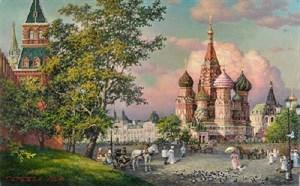 """Картина маслом """"Храм Василия Блаженного"""""""